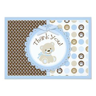 Adorable Teddy Bear Thank You Card Blue 13 Cm X 18 Cm Invitation Card