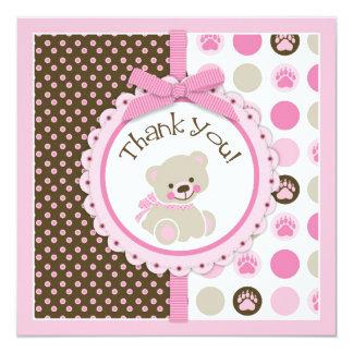 Adorable Teddy Bear Thank You Card Pink 13 Cm X 13 Cm Square Invitation Card