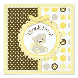Adorable Teddy Bear Thank You Card Yellow 13 Cm X 13 Cm Square Invitation Card
