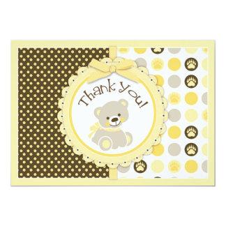 Adorable Teddy Bear Thank You Card Yellow 13 Cm X 18 Cm Invitation Card