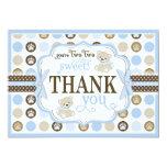 Adorable Teddy Bears Thank You Card Blue 13 Cm X 18 Cm Invitation Card