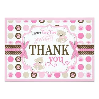 Adorable Teddy Bears Thank You Card Pink 13 Cm X 18 Cm Invitation Card