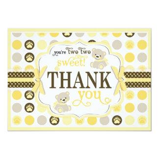 Adorable Teddy Bears Thank You Card Yellow 13 Cm X 18 Cm Invitation Card