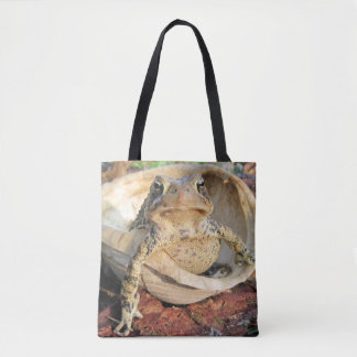 Adorable Toad Sitting Inside A Turtle Shell Tote Bag