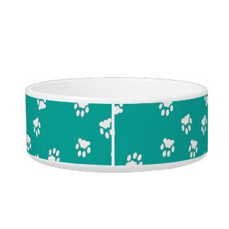 Adorable Turquoise Paw Printed Medium Dog Bowl