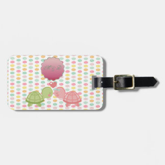Adorable Turtles In Love On Colorful Buttons Luggage Tag