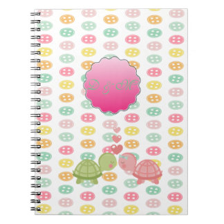 Adorable Turtles In Love On Colorful Buttons Notebook