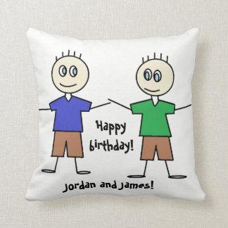 Adorable Twin Boys Birthday Design Throw Pillow