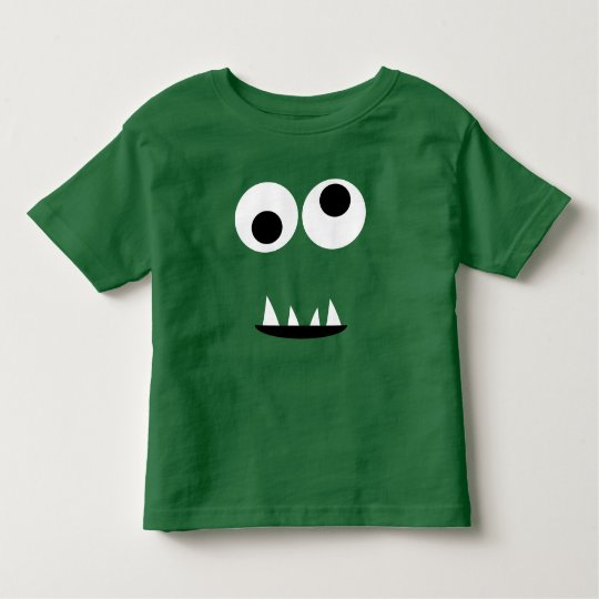 Adorable Two Eyed Monster Face Funny Kids Green