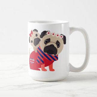 Adorable UK Pugs -Customize Basic White Mug