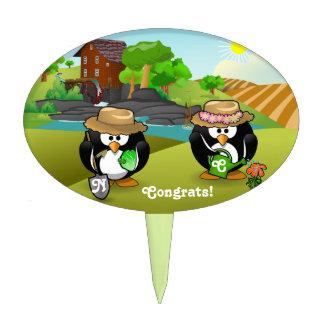 Adorable Vegetable Farmer Gardener Penguin Couple Cake Toppers