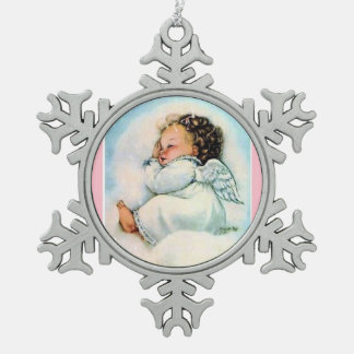 Adorable Vintage Christmas Angel Sleeping Snowflake Pewter Christmas Ornament