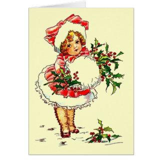 Adorable Vintage Christmas Child Greeting Card