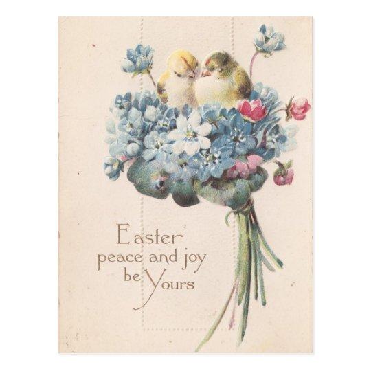 Adorable Vintage Easter Birds and Flowers Postcard