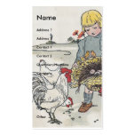 Adorable Vintage Girl with Chickens Business Card Template