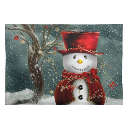 Adorable Vintage Inspired Snowman Placemat