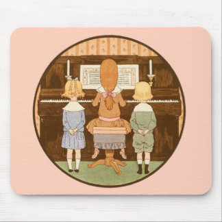 ADORABLE VINTAGE KIDS SINGING PLAYING PIANO MUSIC MOUSE PAD