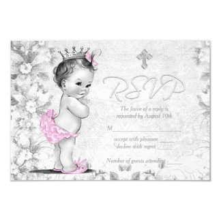 Adorable Vintage Pink and Gray Baptism RSVP Card