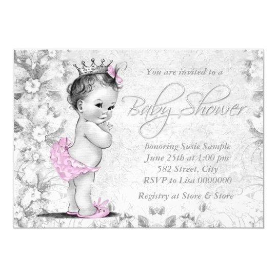 Adorable Vintage Pink and Grey Baby Shower Card