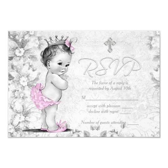 Adorable Vintage Pink and Grey Baptism RSVP Card