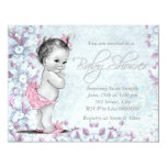 Adorable Vintage Pink and Purple Baby Shower Personalised Announcements