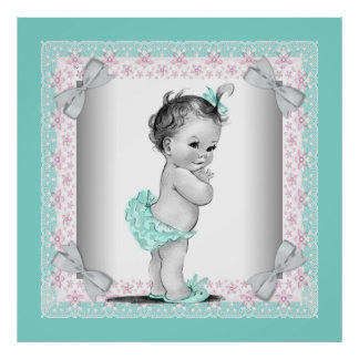 Adorable Vintage Pink and Teal Blue Baby Girl Poster