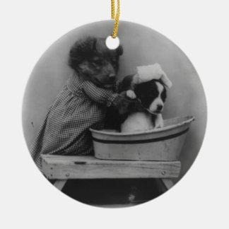 Adorable Vintage Puppy Bath Photo Christmas Ornament