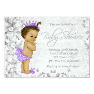 """Adorable Vintage Purple and Gray Baby Shower 5"""" X 7"""" Invitation Card"""