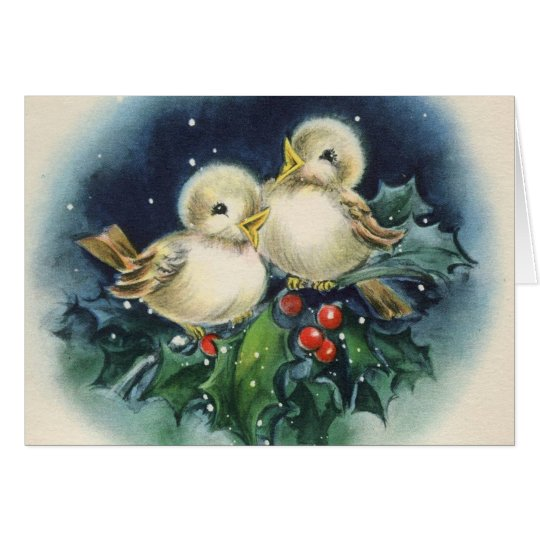 Adorable Vintage Winter Birds, Christmas Card