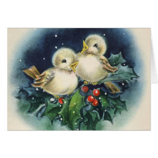 Adorable Vintage Winter Birds, Christmas Greeting Card