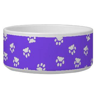 Adorable Violet White Paw Printed Large Dog Bowl