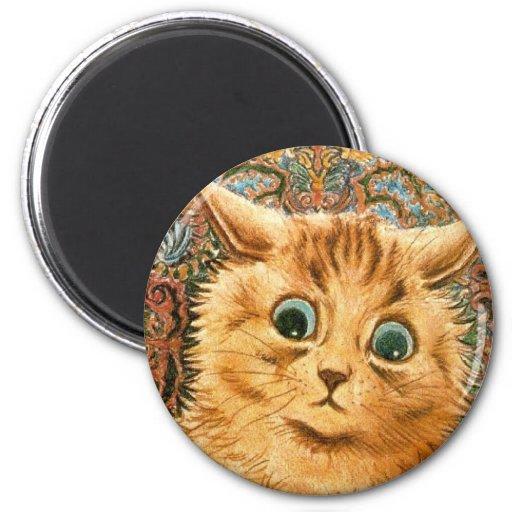 Adorable Wallpaper Cat by Louis Wain 6 Cm Round Magnet
