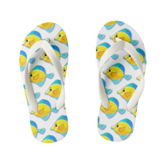 Adorable Watercolor Blue and Yellow Fish Pattern Kid's Flip Flops