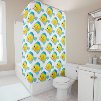Adorable Watercolor Blue and Yellow Fish Pattern Shower Curtain