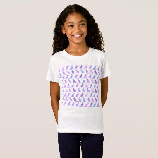 Adorable Watercolor Cat Pattern Kids T-shirt