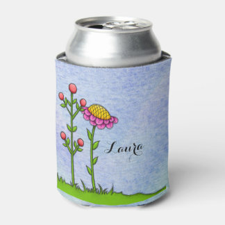 Adorable Watercolor Doodle Flower Can Cooler