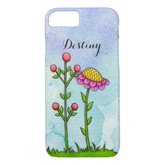 Adorable Watercolor Doodle Flower iPhone Case