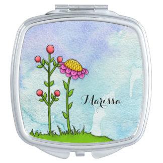 Adorable Watercolor Doodle Flower Mirror Travel Mirror