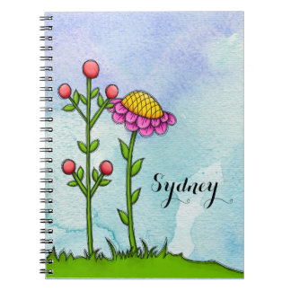 Adorable Watercolor Doodle Flower Notebook