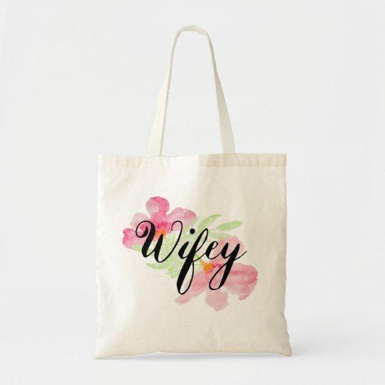 Adorable Watercolor Wifey Graphic Tote Bag