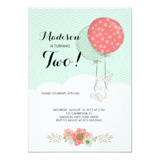 Adorable White Bunny with Balloons Birthday Party 13 Cm X 18 Cm Invitation Card