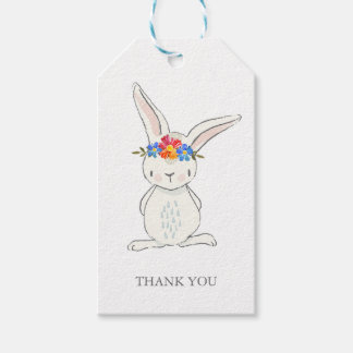 Adorable White Bunny with Flower Crown Gift Tags