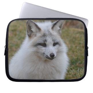 Adorable White Fox Laptop Sleeve