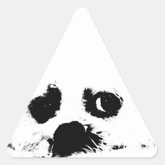 Adorable white Maltese puppy dog Triangle Sticker