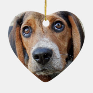 Adorable Wide Eyed Beagle Puppy Heart Shaped Christmas Ornament