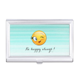Adorable Winking Smiley Emoji Face-Be happy always Business Card Holder