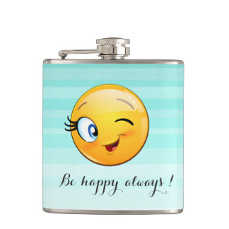 Adorable Winking Smiley Emoji Face-Be happy always Hip Flask