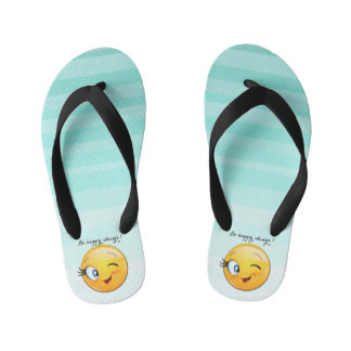 Adorable Winking Smiley Emoji Face-Be happy always Kid's Flip Flops