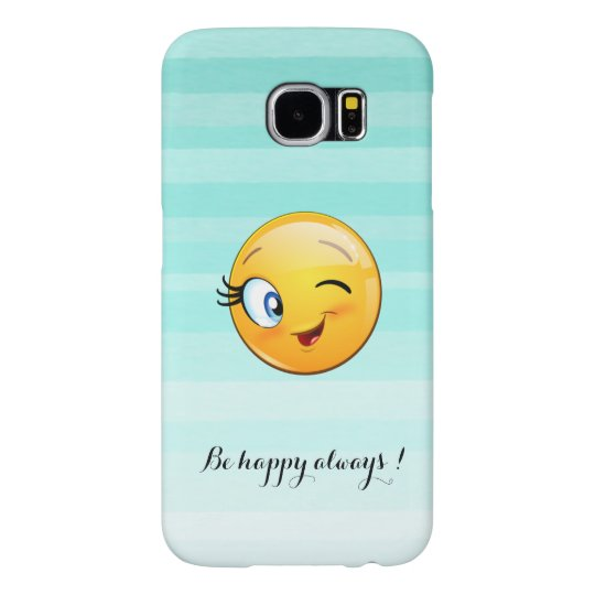 Adorable Winking Smiley Emoji Face-Be happy always Samsung