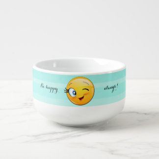 Adorable Winking Smiley Emoji Face-Be happy always Soup Mug